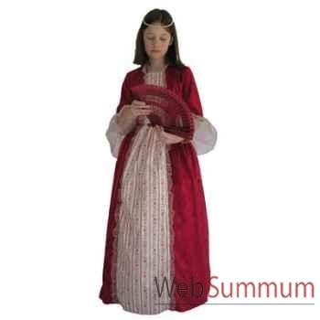 Au fil des contes - Robe de marquise rouge avec jupon - Taille 10 ans