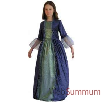 Au fil des contes - Robe de marquise bleue avec jupon - Taille 6 ans