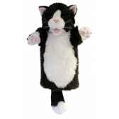 grande marionnette peluche a main chat noir et blanc 26003