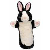 grande marionnette peluche a main lapin noir et blanc 26004