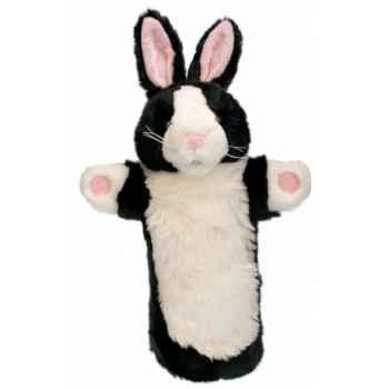 Grande marionnette peluche à main - Lapin noir et blanc-26004