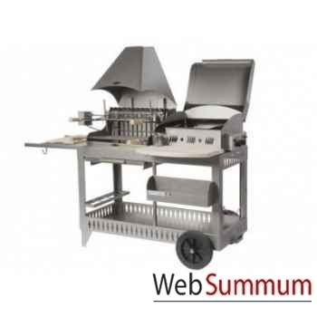Plancha barbecue mendy-alde inox 3 feux mixte s/chariot Le Marquier -BAP3321I