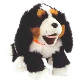 Marionnette peluche à main - Chiot noir et blanc-23005