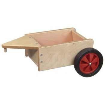 Remorque à fond et roues couleur rouge - 1360