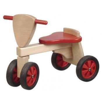 Porteur Tricycle couleur rouge et naturel -1390
