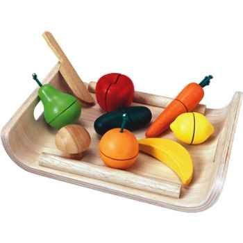 Fruits et légumes assortis en bois - Plan Toys 3416