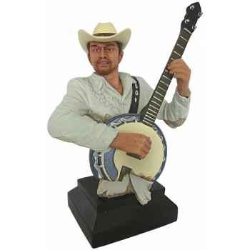 Figurine homme résine banjo Statue Musicien -Y30ZP-1805