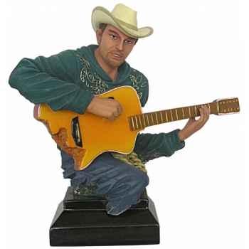 Figurine homme résine guitare Statue Musicien -Y30ZP-1802