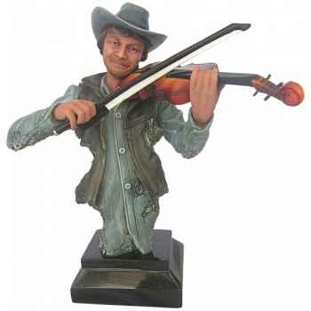 Figurine homme résine violon Statue Musicien -Y30ZP-1807