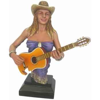 Figurine femme résine guitare Statue Musicien -Y30ZP-1810