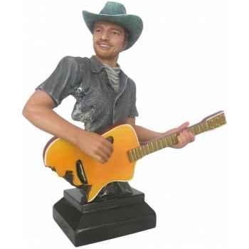 Figurine homme résine guitare Statue Musicien -Y30ZP-1811
