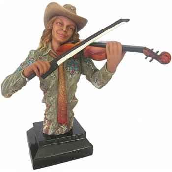 Figurine femme résine violon Statue Musicien -Y30ZP-1806