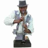 buste resine clarinette statue musicien y10zp 520