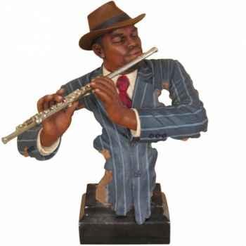 Buste résine flûte Statue Musicien -Y10ZP-620