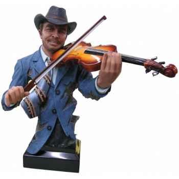 Buste homme résine violon Statue Musicien -Y30ZP-804
