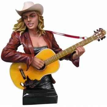 Buste femme résine guitare Statue Musicien -Y30ZP-801