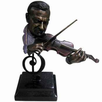 Figurine résine façon métal violon Statue Musicien -Y10ZP-717