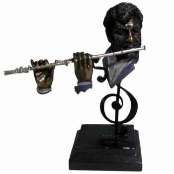 Figurine résine façon métal flûte Statue Musicien -Y10ZP-715