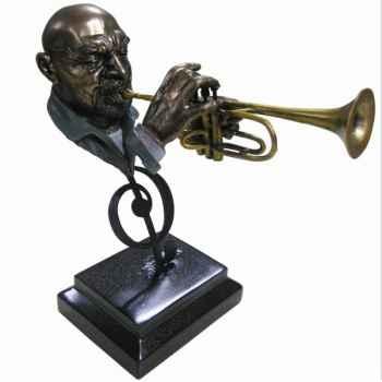 Figurine résine façon métal trompette Statue Musicien -Y10ZP-718