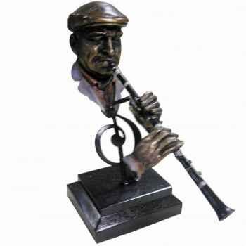 Figurine résine façon métal clarinette Statue Musicien -Y10ZP-716