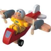 avion de tourisme et pilote en bois plan toys 6046