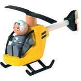 helicoptere et pilote en bois plan toys 6060