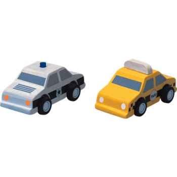 Taxi et voiture de police en bois - Plan Toys 6073
