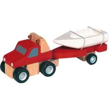 Véhicule 4x4 & bateau en bois - Plan Toys 6051