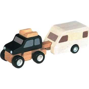 Véhicule 4x4 avec remorque en bois - Plan Toys 6050