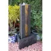 fontaine fortuna en pierre granit et ardoise de coloris gris et rouille climadream
