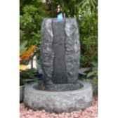 fontaine coronis en pierre granit martele de coloris gris climadream
