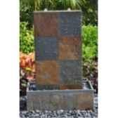 fontaine atlas en pierre ardoise et granit de coloris rouille et gris climadream