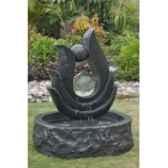 fontaine nymphe en pierre granit finition polie et martelee de coloris gris climadream