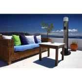 chauffage exterieur geant sur colonne carbone avec sensor et lumiere 2960w nouveaute couleur gris martele out trade hdi12