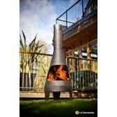cheminee en acier et barbecue canyon large coloris noir la hacienda 56090