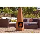 cheminee design en acier corten cuba coloris oxyde traitement contre la rouille la hacienda 56071