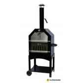 four a pizza mobile et barbecue en acier coloris noir et acier inoxydable la hacienda 56107