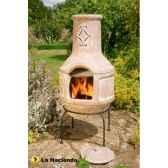 cheminee en argile et barbecue spanish scrollarge coloris pierre la hacienda 67016q