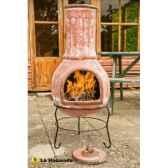 cheminee mexicaine et barbecue en argile mazatlan large coloris raisin rouge la hacienda 65046l