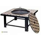 foyer en mosaique barbecue et table palermo coloris mosaique noir la hacienda 58143