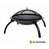barbecue sur pieds pliants et sac camping coloris noir la hacienda 58106