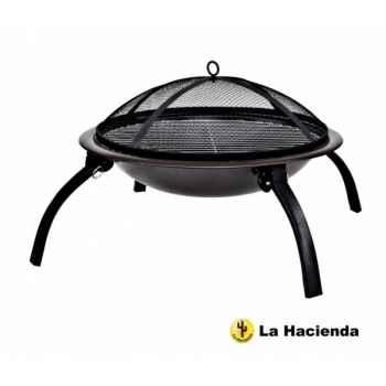 Barbecue sur pieds pliants et sac camping coloris noir La Hacienda -58106