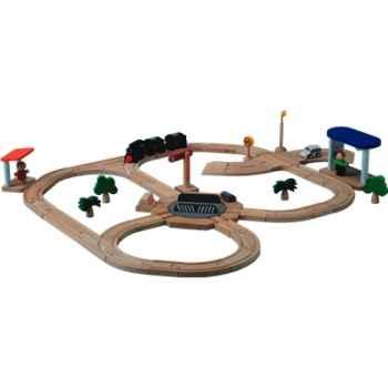 Circuit aiguillage rotatif en bois - Plan Toys 6215