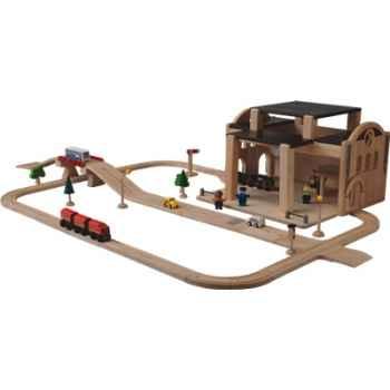 Circuit avec gare centrale en bois - Plan Toys 6218