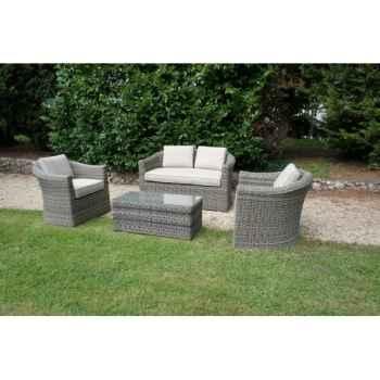 mobilier de jardin  table basse structure aluminium et resine tressee chalet