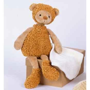 Peluche Mon doudou en balade, doudou ours avec porte doudou jean -ho1319