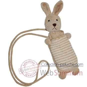 Les Petites Marie - Peluche collection maille chenille, Porte téléphone lapin