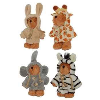 Les Petites Marie - Peluche collection Ti Zours, Lot de 4 ours habillés et articulés dont 1 gratuit le zèbre