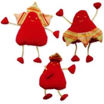 Les Petites Marie - Peluche Pétale rouge Famile - Papa, Maman et Bébé
