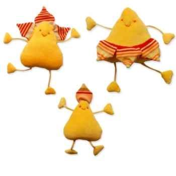 Les Petites Marie - Peluche Pétale jaune Famile - Papa, Maman et Bébé
